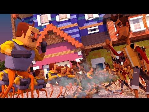 Minecraft   150 Neighbors Vs 150 Players! (Hello Neighbor Massive Mob Battles)