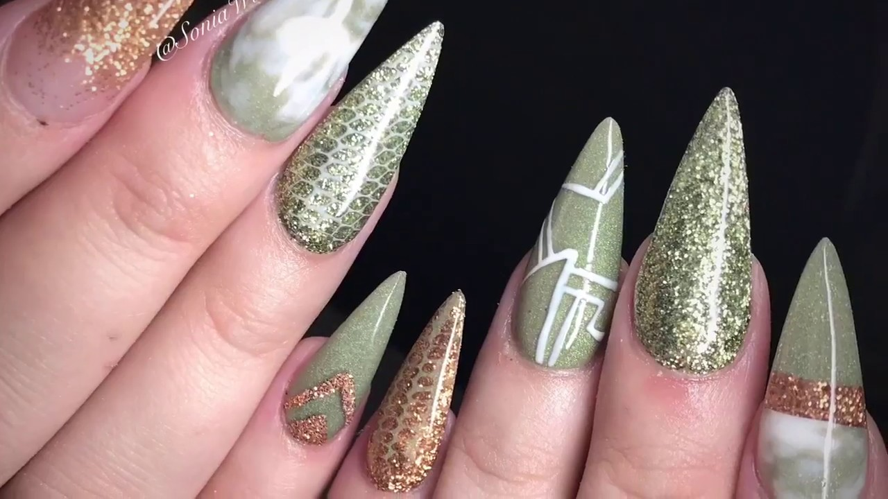 olive green & gold acrylic nails