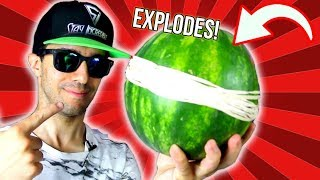 How To Explode a Small Baby Watermelon with Rubber Bands Challenge