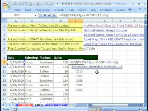 create a report that displays the quarterly sales by territory Excel Magic Trick 403: March End Quarterly Comparative Report ...