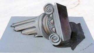 SINKING CIVILISATION - Drawing 3d Ionic Column - Anamorphic Illusion