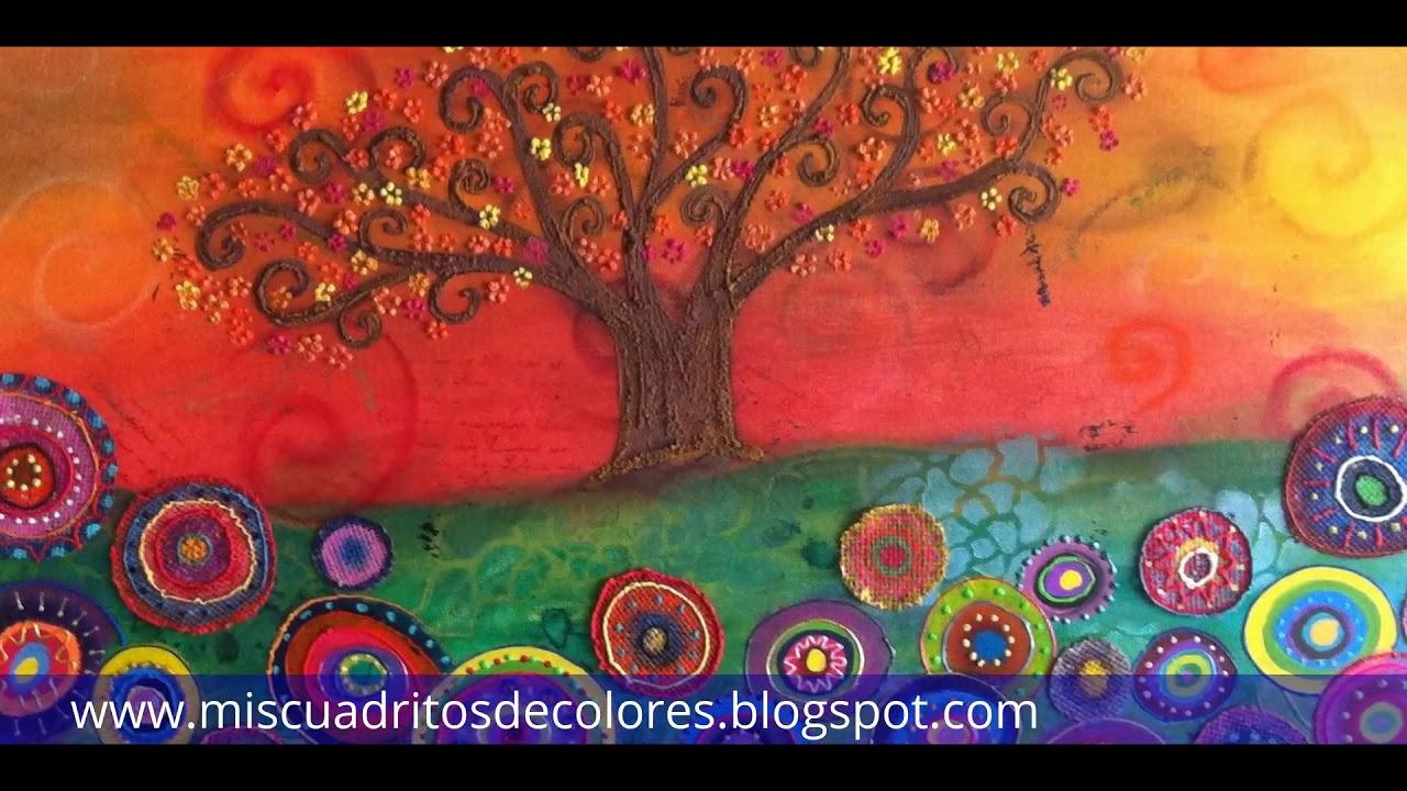 Cuadros de arboles pintados a mano youtube for Cuadros pintados a mano