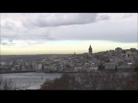 Views of Beyoglu District and the Galata Tower from Topkapi Palace, Istanbul, Turkey