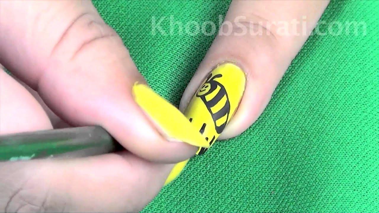 Sparkling Honey Bee Nail Art By Khoobsurati.com - YouTube
