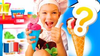 Cinq Enfants prétendent jouer à la vente de crème glacée Vidéo de collection pour les enfants