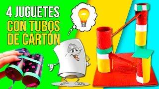✌️ 4 JUGUETES CASEROS que puedes hacer con TUBOS DE PAPEL higiénico ✌️ MANUALIDADES de RECICLAJE