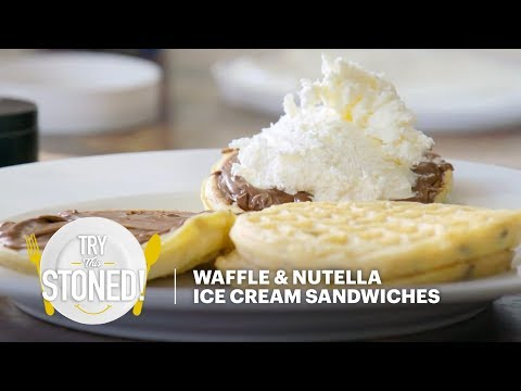 Waffle & Nutella Ice Cream Sandwiches | Try This Stoned