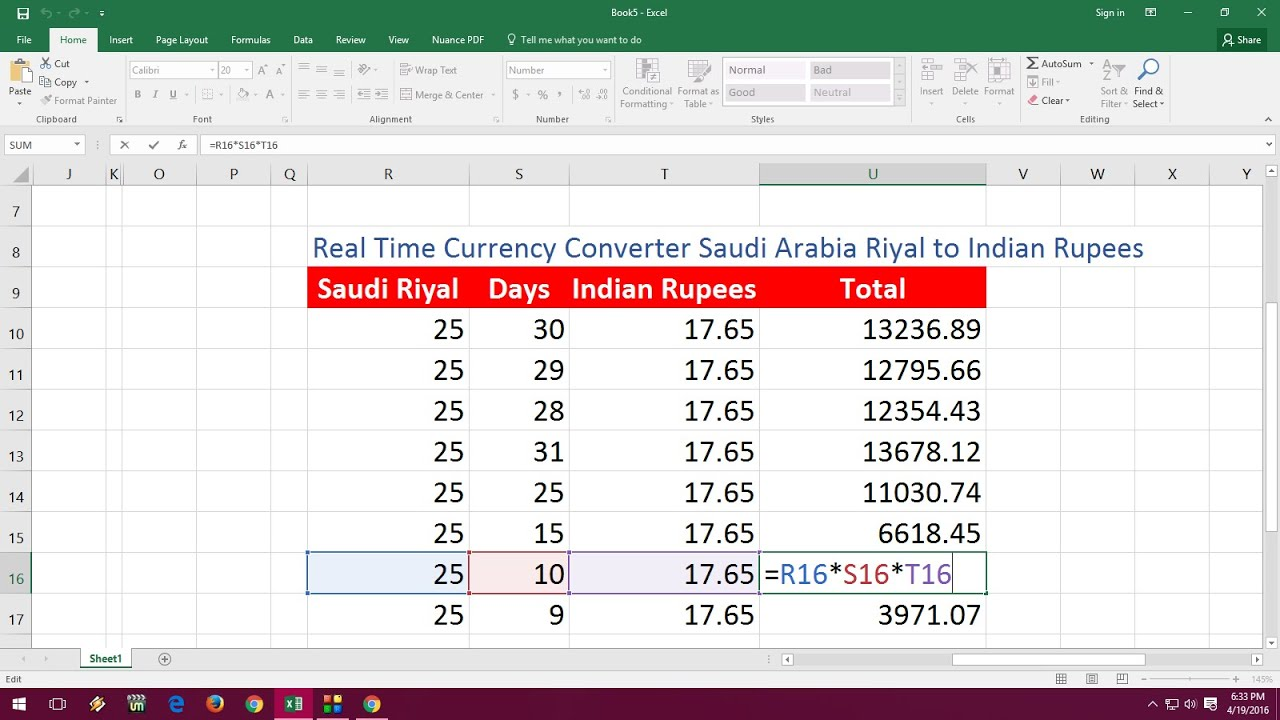 MS Excel Real Time Currency Converter Saudi Riyal to ...