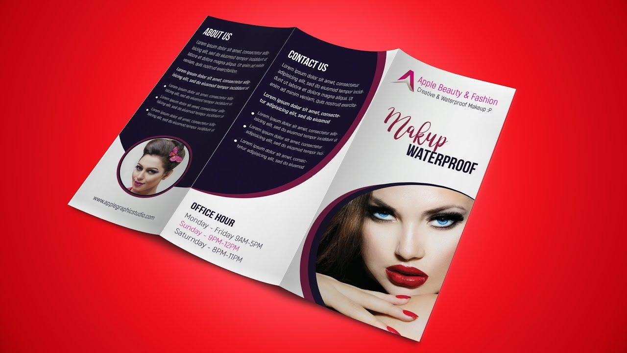 fashion beauty trifold brochure design photoshop tutorial