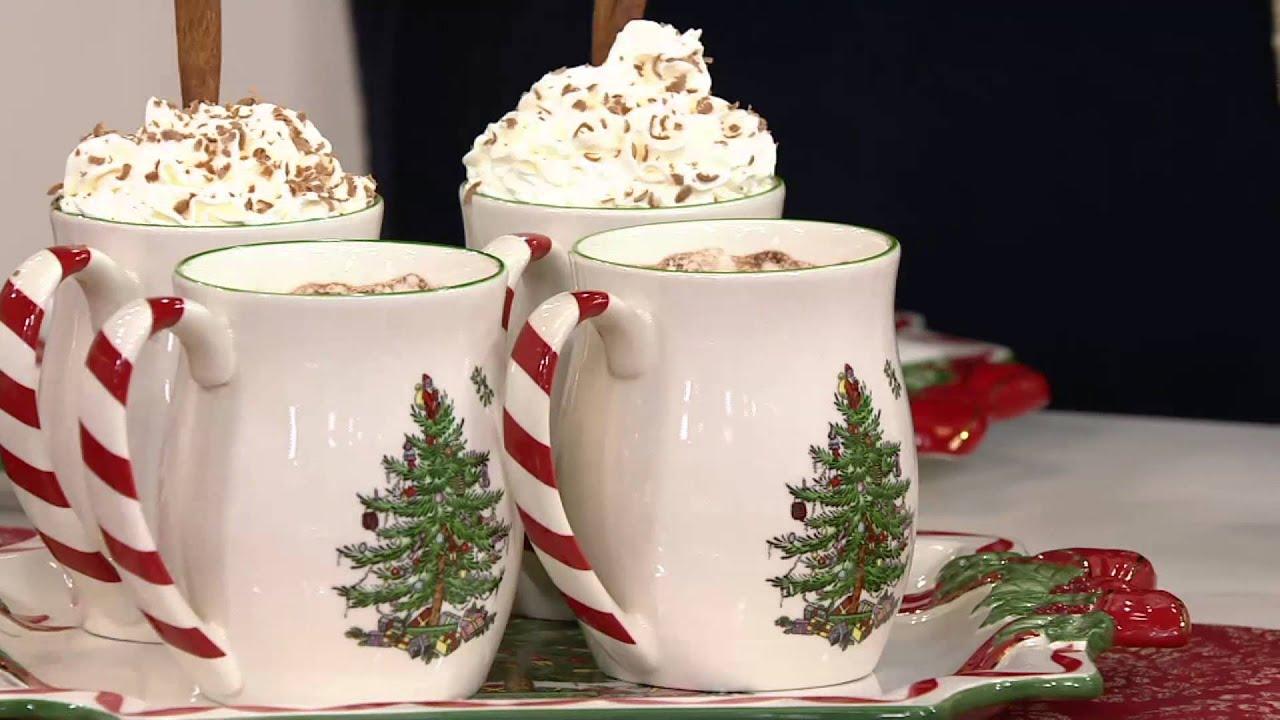Spode Christmas Tree S/4 14 oz. Candy Cane Mugs on QVC - YouTube