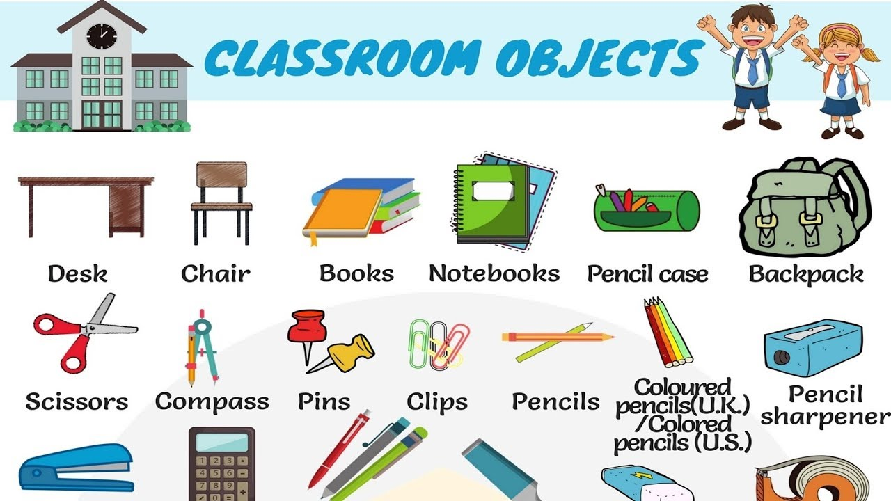 Classroom Objects in English | Classroom Vocabulary - 7 E S L