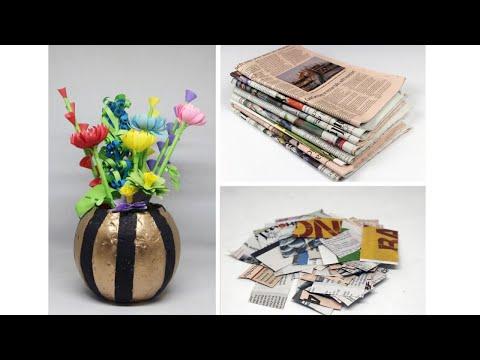 old-newspaper-crafts-idea-|-recycled-diy-paper-flower-vase-idea