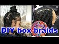 How to: Loose Big Box Braids for Beginners| Detailed easy rubber band method on your own head