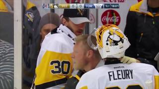 Marc-Andre Fleury takes skate to the neck 12/17/2016