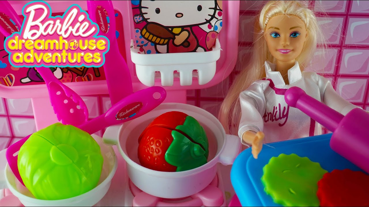 Mainan Anak Perempuan masak masakan! Barbie Boneka Barbie Mainan