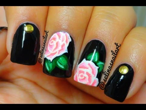Rose & Studs Nail Art Tutorial - Rose & Studs Nail Art Tutorial - YouTube