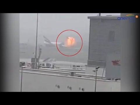 Emirates airline plane crash lands at Dubai International Airport