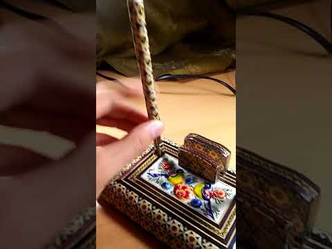 Persian Khatam pen holder with miniature painting + two pens, for sale