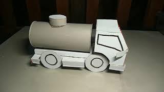 How To Make a Tank Truck From Milk Paper Carton / Truk Tangki Kertas Pembungkus Susu