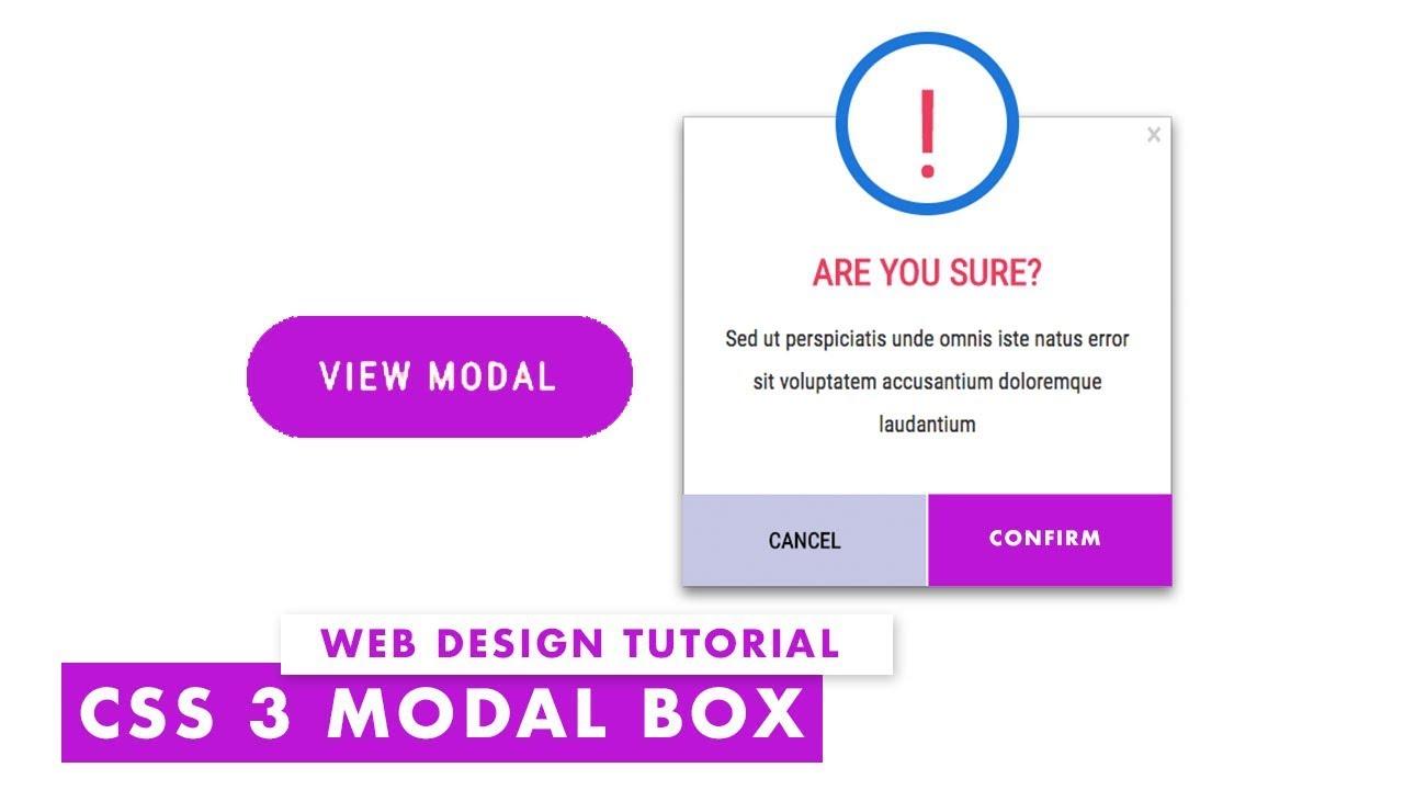Css 3 Modal Dialog Box For Web Design Web Design Tutorial Youtube