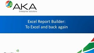 Excel Report Builder in Dynamics GP 2013