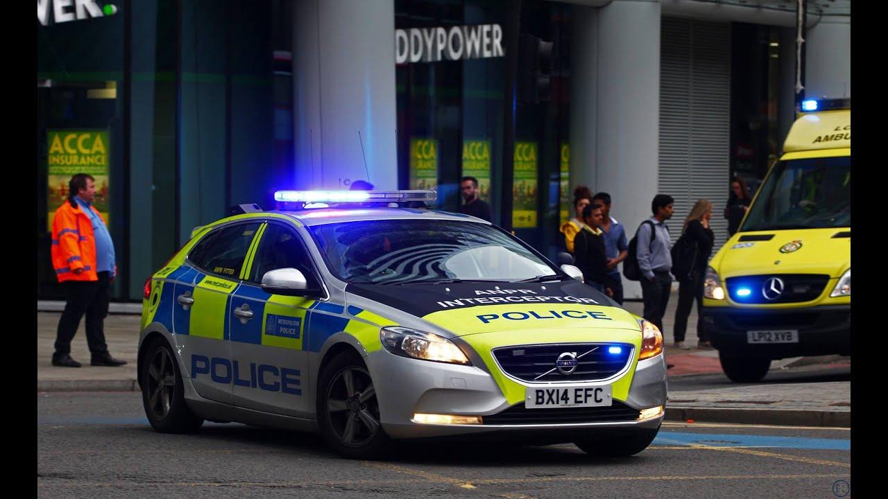 London Metropolitan Police Car Escorting Ambulance Youtube