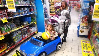 Fun Sisters Mega Toy Shopping at Store!! Pretend Play and Ride on Car