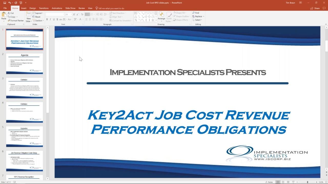 Microsoft Dynamics GP Key2Act Job Cost Revenue Performance Obligations I  Implementation Specialists