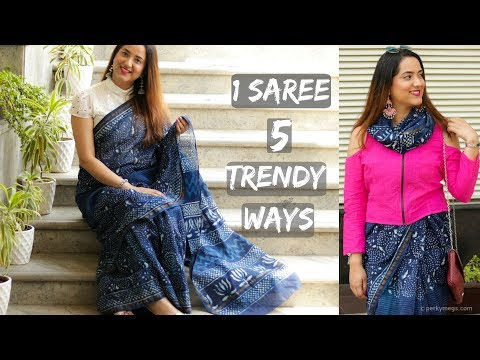 5 trendy ways to wear a Saree | Mix & Match blouses with Saree | Perkymegs
