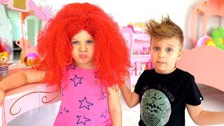 ダイアナが誕生日パーティーのため髪型をセットする