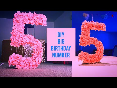 DIY Easy Big birthday number with paper | tissue paper & cardboard/cereal box | Birthday Decorations