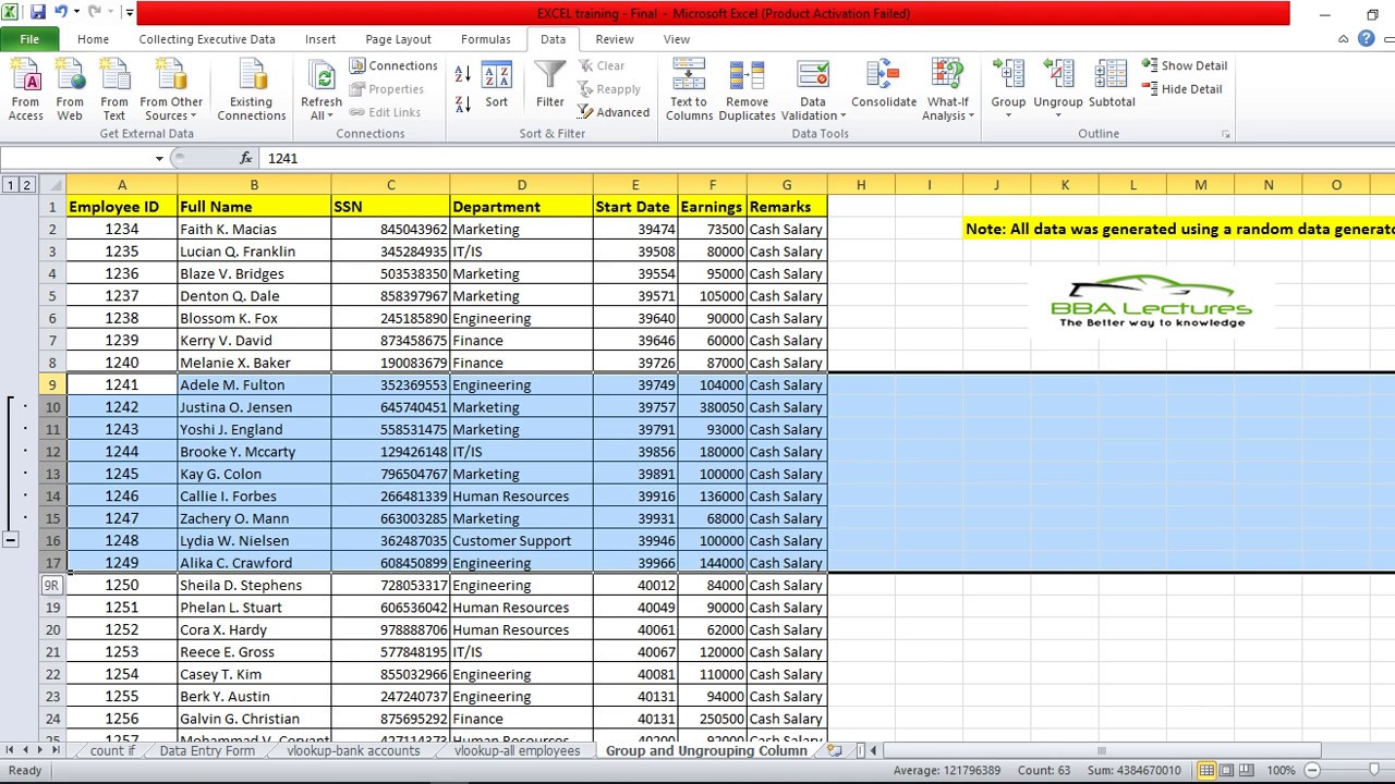 How To Hide Columns Or Rows With Plus And Minus Button In Excel
