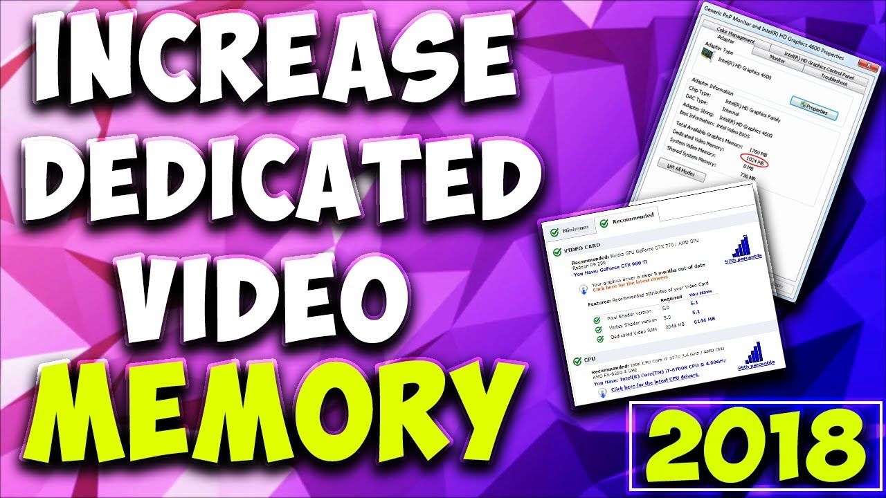 HOW TO INCREASE DEDICATED VIDEO RAM ON YOUR LAPTOP/DESKTOP - THE ONLY 2  WAYS WORKING (2018)