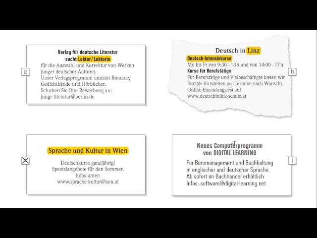 экзамен по немецкому B1 Goethe Zertifikat B1 чтение Lesen объявления