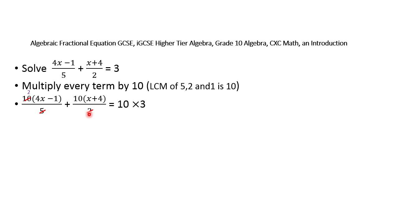 small resolution of Algebraic Fractional Equations GCSE