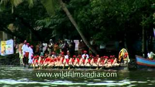 Women team rowing at Kerala Snake boat race