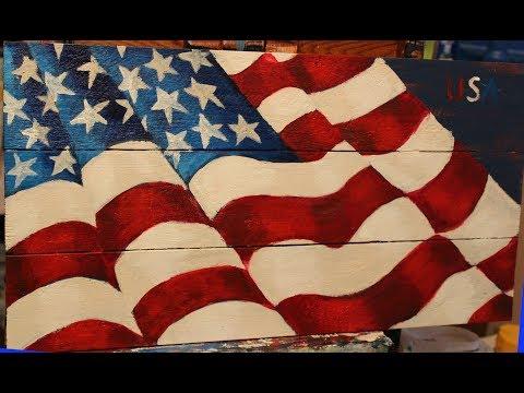 United States Flag Beginner Painting on Wood Panel
