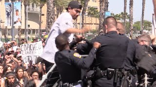 Trump Protesters Attack the San Diego Police at Trump Rally | Punches and Batton Melee