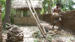 Primitive Technology, Upgrade wall  of Mud huts - ep 9