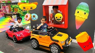 Kids pretend play | Drive Thru in Indoor Theme Park with Power Wheels Ride On Cars