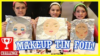 MAKEUP TIN FOIL CHALLENGE! With That Youtub3 Family! thumbnail