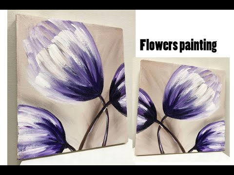 Flower Painting for beginners / Demonstration / Acrylic painting on canvas