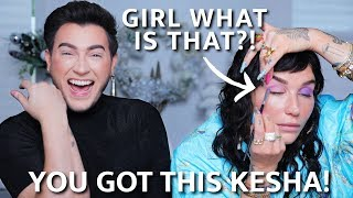 TEACHING KESHA HOW TO DO HER OWN MAKEUP FOR THE FIRST TIME!