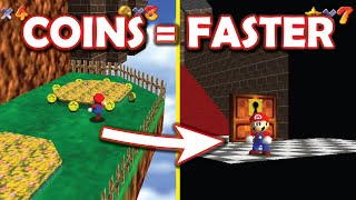 Super Mario 64 but every coin makes you faster