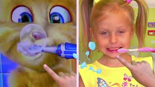 Kids has Breakfast with a talking cat / new funny stories