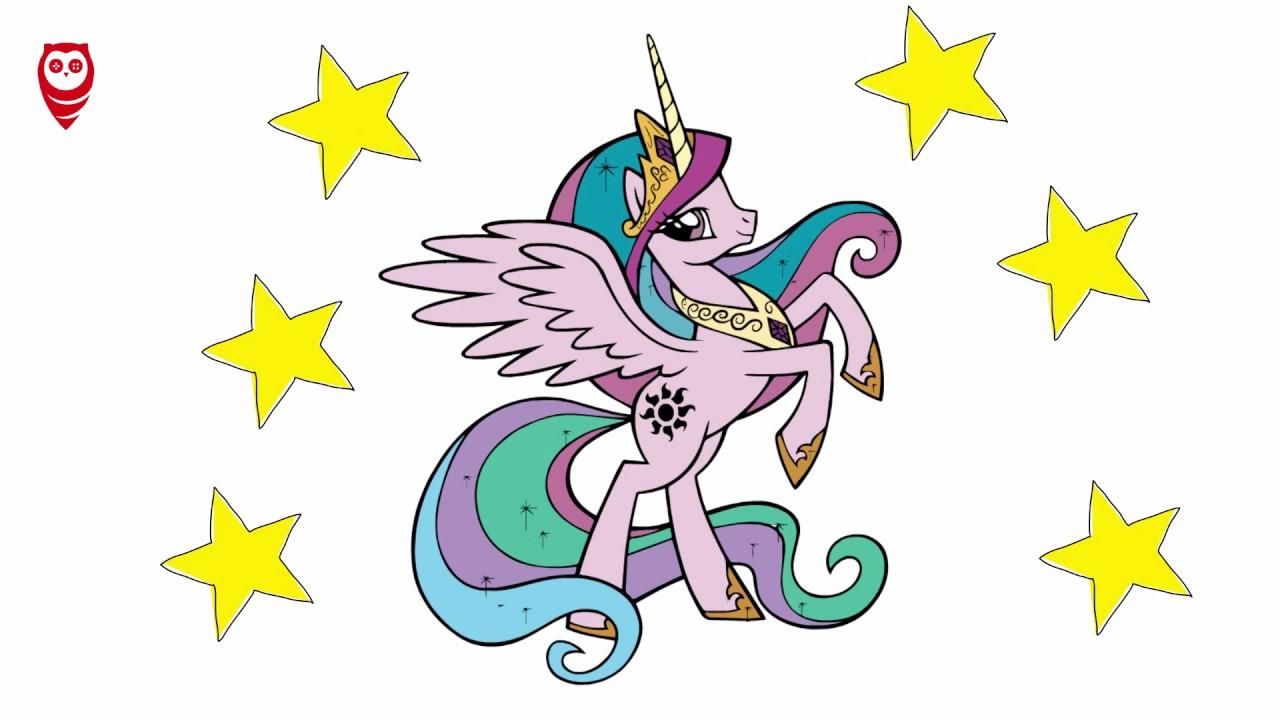 My Little Pony Princess Celestia Boyama Ve çizim Sayfası çocuklar
