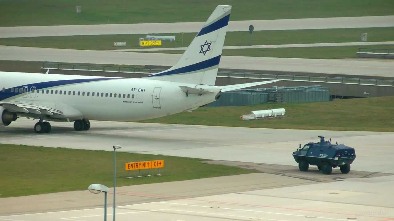 Police Escorts Israel El Al Airlines to Runway 08L - Munich Airport [HD] -  YouTube
