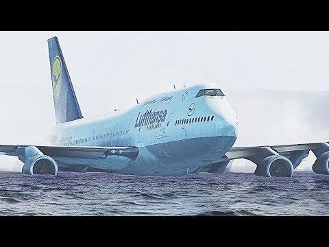 X-Plane 11 - Boeing 747 Water Crash Landing (HD)