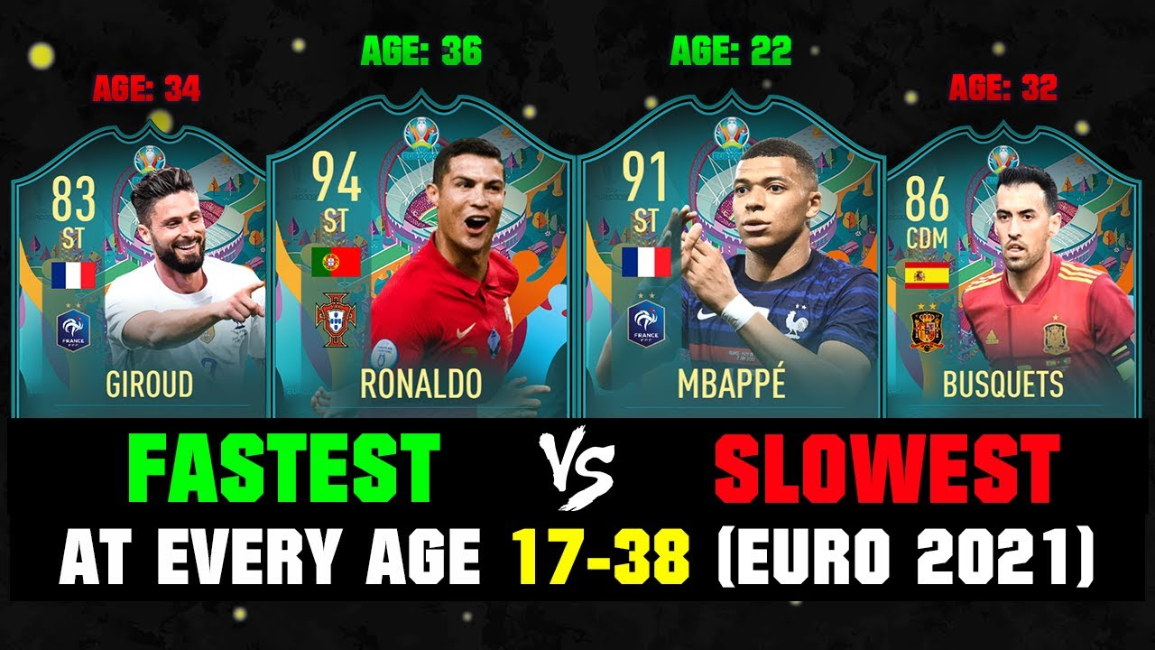 Fastest VS Slowest Player At Every Age 17-38 At EURO 2021! 🏃🔥
