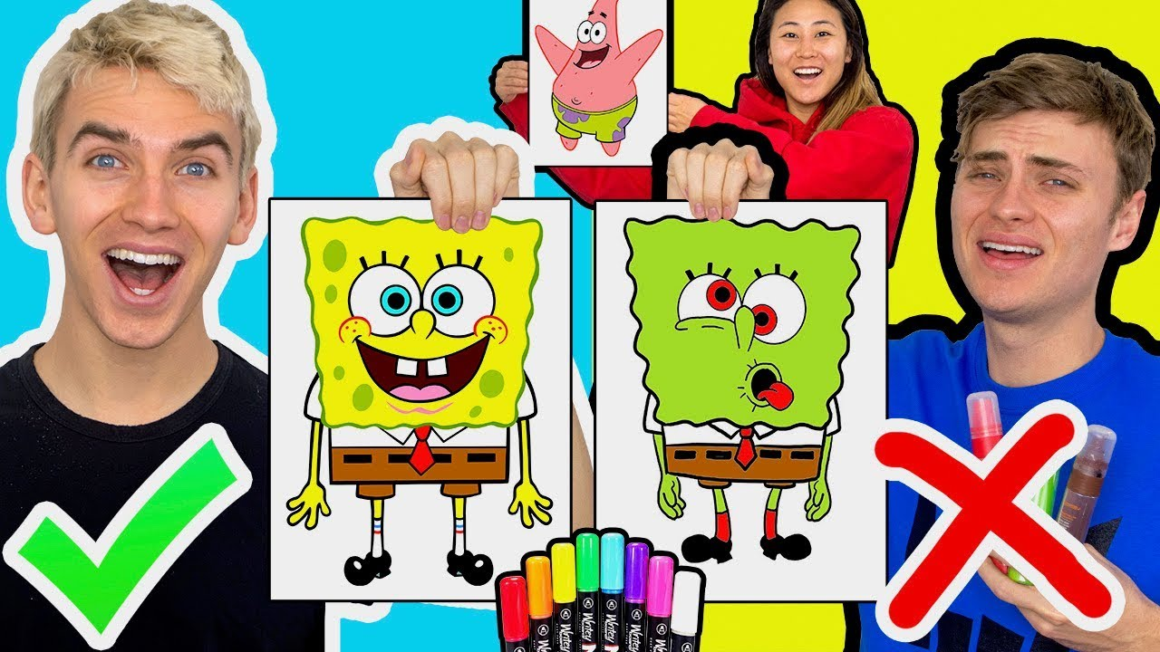 3 Marker Challenge With My Brother Spongebob Edition Youtube